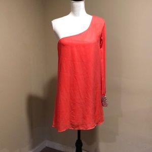 Women's med coral one shoulder dress